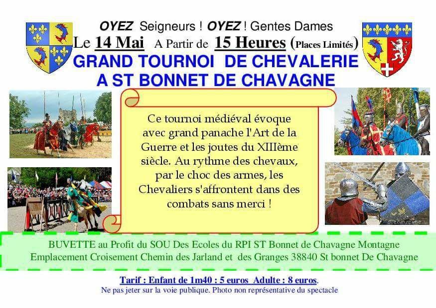 Grand Tournoi de Chevalerie le 14 mai 2017 à St Bonnet de Chavagne(Isère)